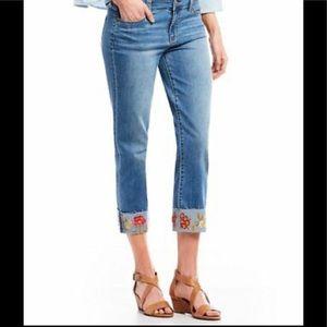 Liverpool Josie wide cuff embroidered crop jeans 8